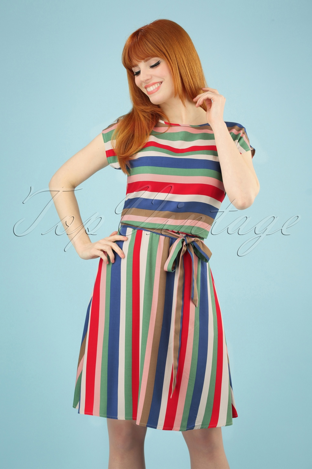 50 Vintage Inspired Clothing Stores 60s Connie Cabana Stripes Dress in Multi £57.89 AT vintagedancer.com