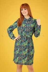 60s Dawn Leopard Blouse Dress in Green