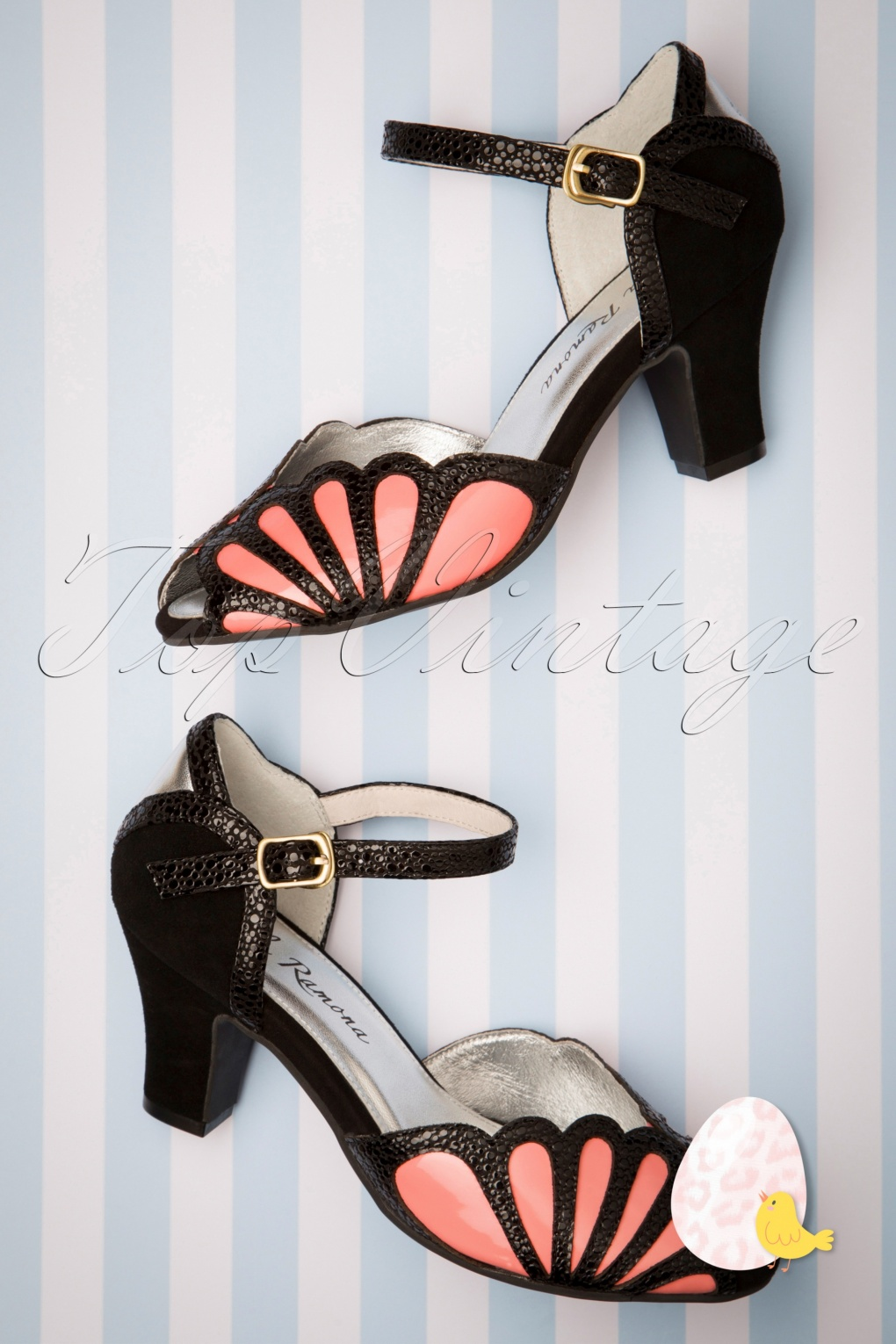 1930s Style Shoes – Art Deco Shoes 20s Ava Affection Sandals in Black and Pink �116.69 AT vintagedancer.com