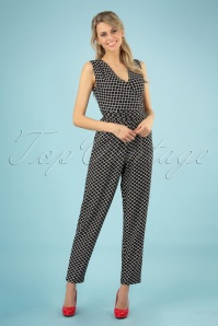 60s Julia Jumpsuit in Black and White
