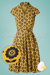 Circus 60s Penny Flower Dress in Mustard Yellow