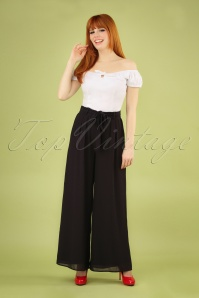 70s Kristin Wide Leg Trousers in Black