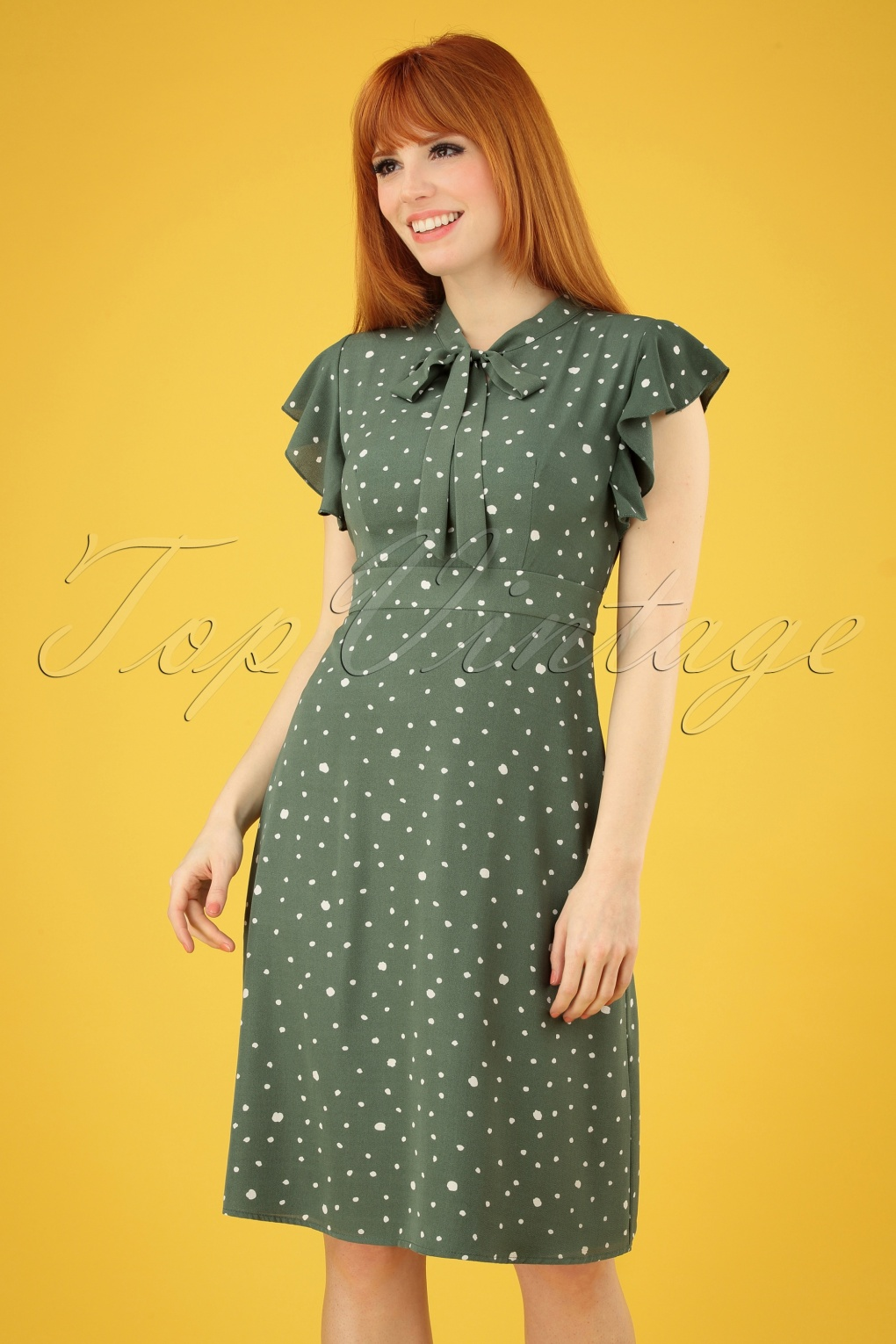 Vintage Tea Dresses, Floral Tea Dresses, Tea Length Dresses 40s Florrie Polka Ruffle Dress in Vintage Green �54.43 AT vintagedancer.com
