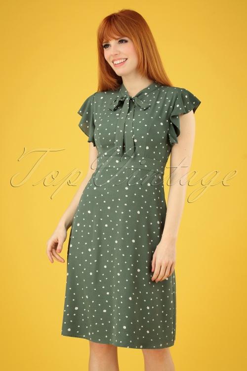 Sugarhill Brighton 27671 Florrie Polkadot Green Dress 20190312 002 020W