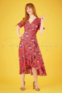 Sugarhill Brighton Jackie Havana Midi Frill Wrap Dress Années 70 en Rouge