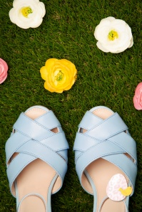 50s June Say Hello To My Sassy Peeptoe Pumps in Sky Blue