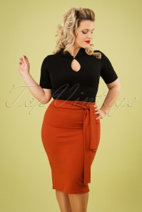 50s Shana Pencil Skirt in Cinnamon