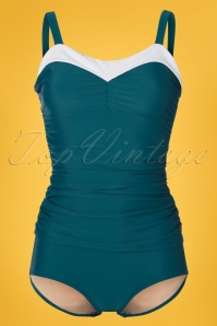 Jessica Rey 50s Regina One Piece Swimsuit in Teal Green