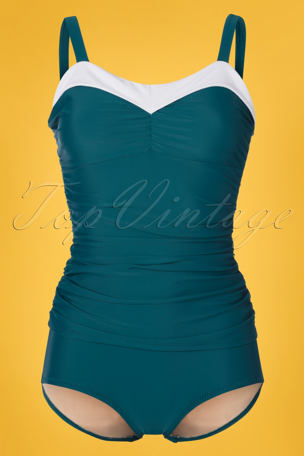 7cfef5c3d7 1950s Bathing Suits, Swimsuits History 50s Regina One Piece Swimsuit in  Teal Green  99.40