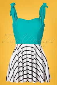 Jessica Rey 50s Marie Swim Dress in Turquoise and White