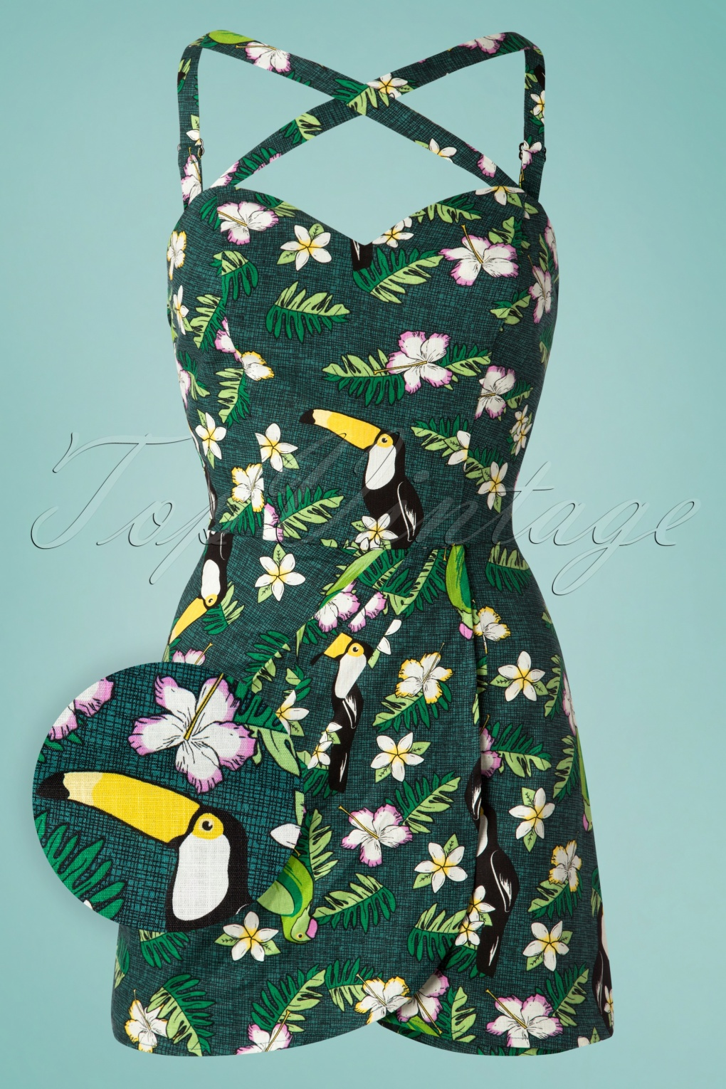 1950s Fashion History: Women's Clothing 50s Mahina Tropical Bird Playsuit in Green �47.57 AT vintagedancer.com
