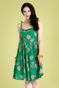 Bunny 50s Tropicana Dress in Green and Pink