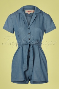 60s Loeiza Chambray Playsuit in Denim Blue