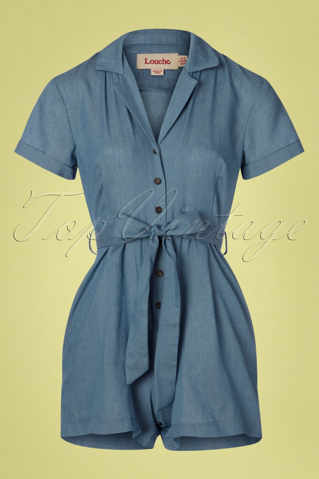 1940s Dresses and Clothing UK | 40s Shoes UK 60s Loeiza Chambray Playsuit in Denim Blue �60.49 AT vintagedancer.com