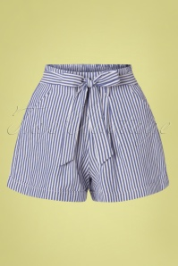 Louche 50s Soren Chambray Stripes Tie Shorts in Blue and White