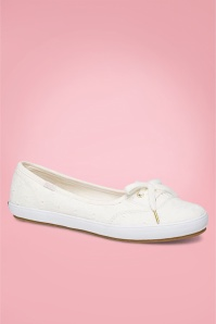 Keds 50s Teacup Eyelet Ballerina Sneakers in Off White
