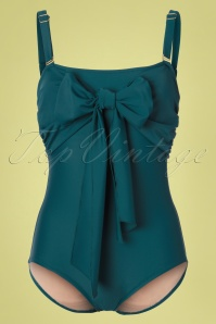 Jessica Rey 50s Greta Bow One Piece Swimsuit in Teal Green