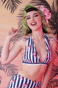 50s Lobster Ruched Triangle Bikini Top in Multi