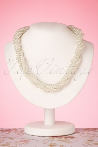 30s Mona Twisted Pearl Necklace in Ivory