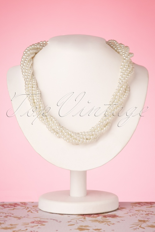 Collectif Clothing 27270 Ivory Twinted Pearl Necklace 20190417 006W