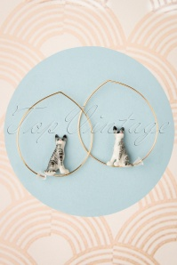 Nach Bijoux 28374 Earrings Cat Grey Stripes 180419 0001 W