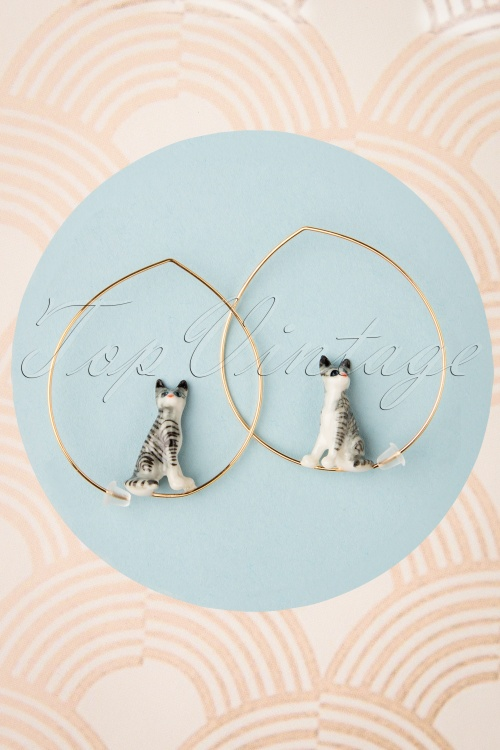 Nach Bijoux 28374 Earrings Cat Grey Stripes 180419 0001 W