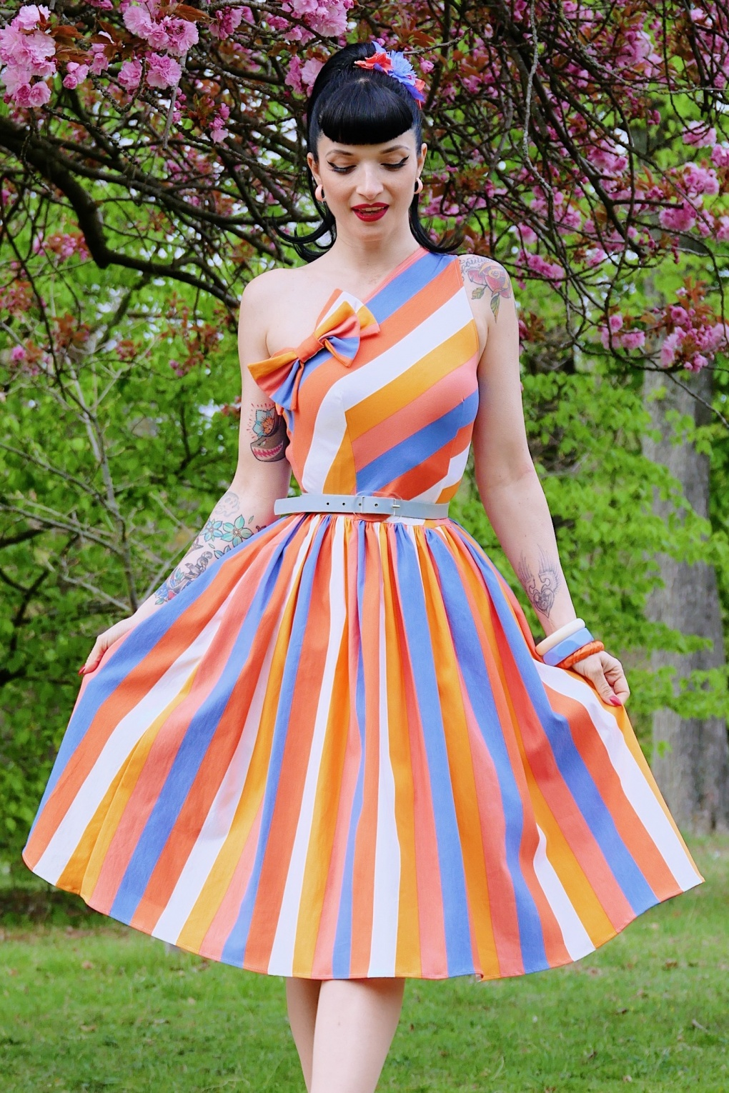 500 Vintage Style Dresses for Sale 50s Belinda Swing Dress in Sherbet Stripe �107.88 AT vintagedancer.com
