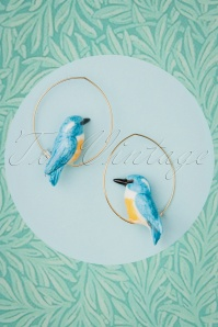 Nach Bijoux 28340 Earrings Kingfisher Bird Blue Gold 180419 0016 W