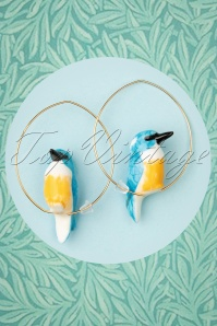 Kingfisher Bird Hoop Earrings Années 60 en Bleu
