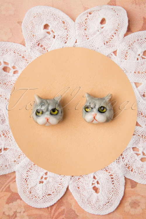 Nach Bijoux 28373 Earrings Grey Grumpy Cat Funny 180419 0005 W