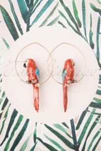 Nach Bijoux 28370 Earrings Red Parrot Ara Bird Gold 180419 0028 W
