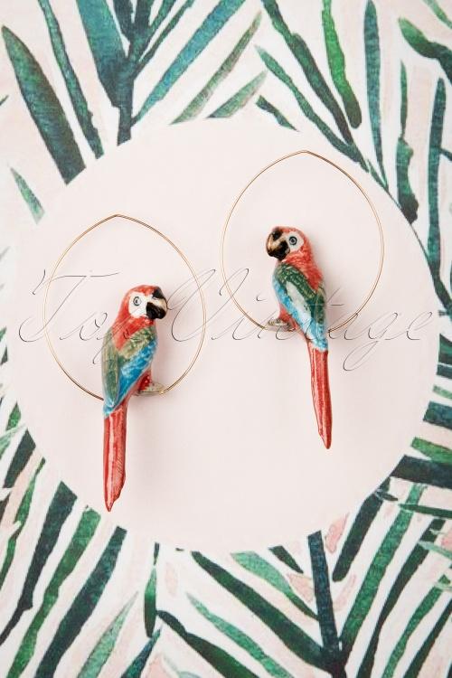 Nach Bijoux 28370 Earrings Red Parrot Ara Bird Gold 180419 0022 W