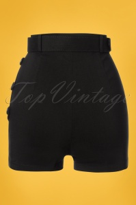 Collectif Clothing 27480 Gertrude Plain Shorts in Black 20180817 006W