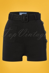 Collectif Clothing 27480 Gertrude Plain Shorts in Black 20180817 001W