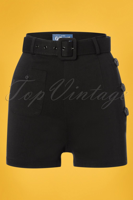 Vintage Shorts, Culottes,  Capris History 50s Gertrude Shorts in Black �33.63 AT vintagedancer.com