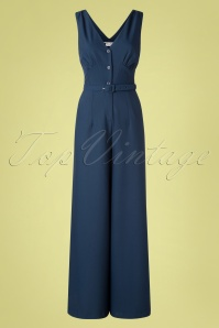 Daisy Dapper 40s Francy Jumpsuit in Navy