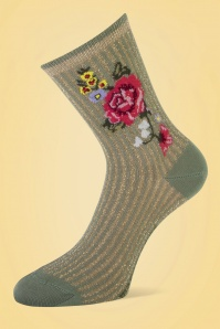 70s Lizzy Lurex Flower Socks in Olive Green