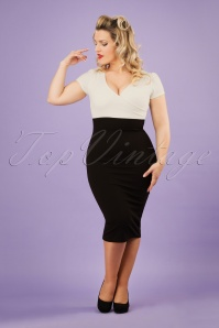 50s Kristy Pencil Dress in Black and Cream