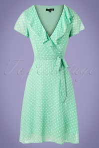 Smashed Lemon 60s Kamila Polkadot Swing Dress in Mint