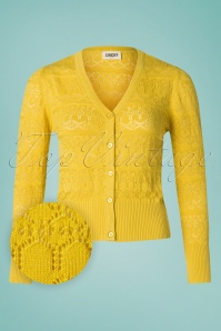Circus 60s Emerson Jacquard Cardigan in Curry Yellow