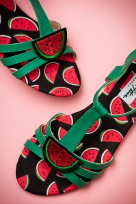 60s Lottie Watermelon Sandals in Green