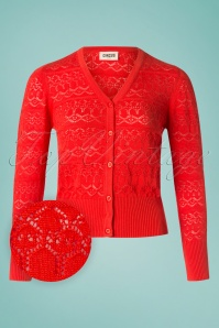 Circus 60s Emerson Jacquard Cardigan in Cayenne