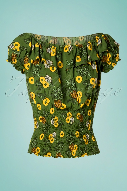 Collectif Clothing 27401 Bebe Pineapple Slice Top in Green 20180813 001W