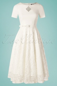 Daisy Dapper 50s Dolly Lace Swing Dress in Ivory White