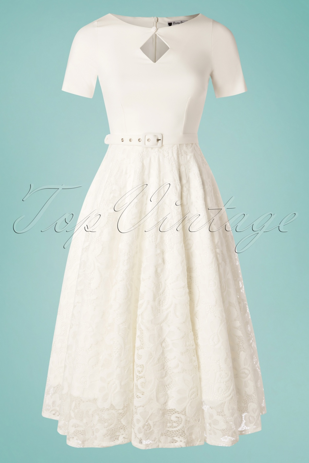 Vintage Inspired Wedding Dress | Vintage Style Wedding Dresses 50s Dolly Lace Swing Dress in Ivory White �189.90 AT vintagedancer.com