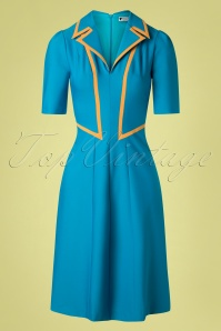 Daisy Dapper 40s Agnefrid Dress in Petrol Blue