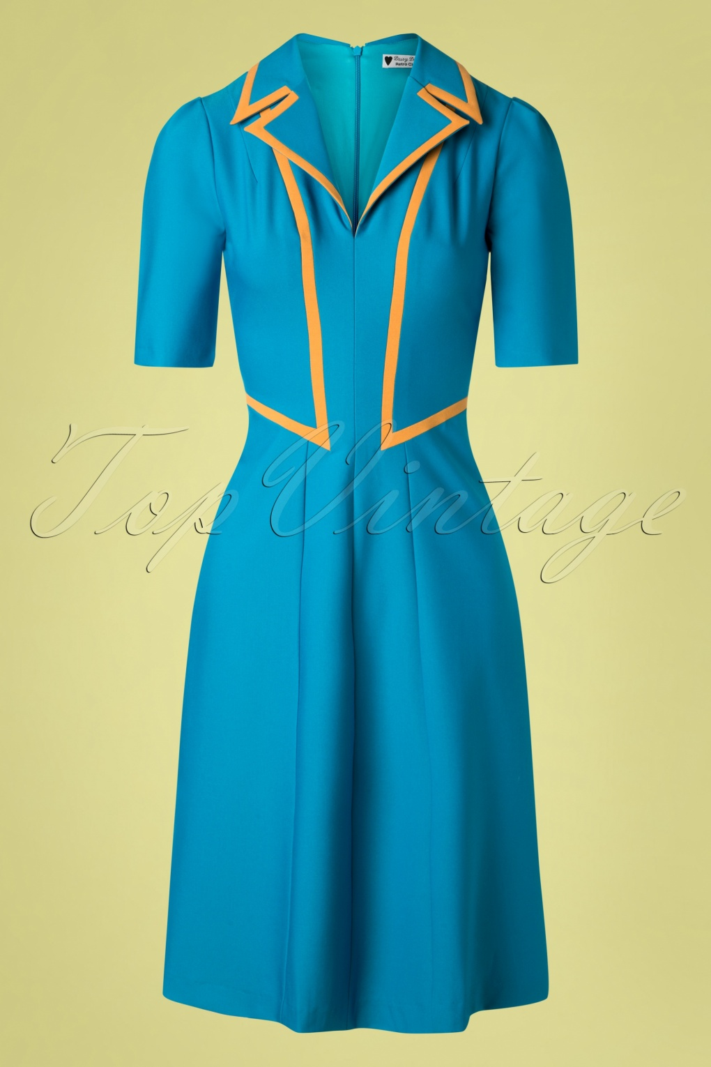 Vintage Tea Dresses, Floral Tea Dresses, Tea Length Dresses 40s Agnefrid Dress in Petrol Blue �125.15 AT vintagedancer.com