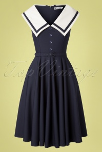 Daisy Dapper 50s June Swing Dress in Navy