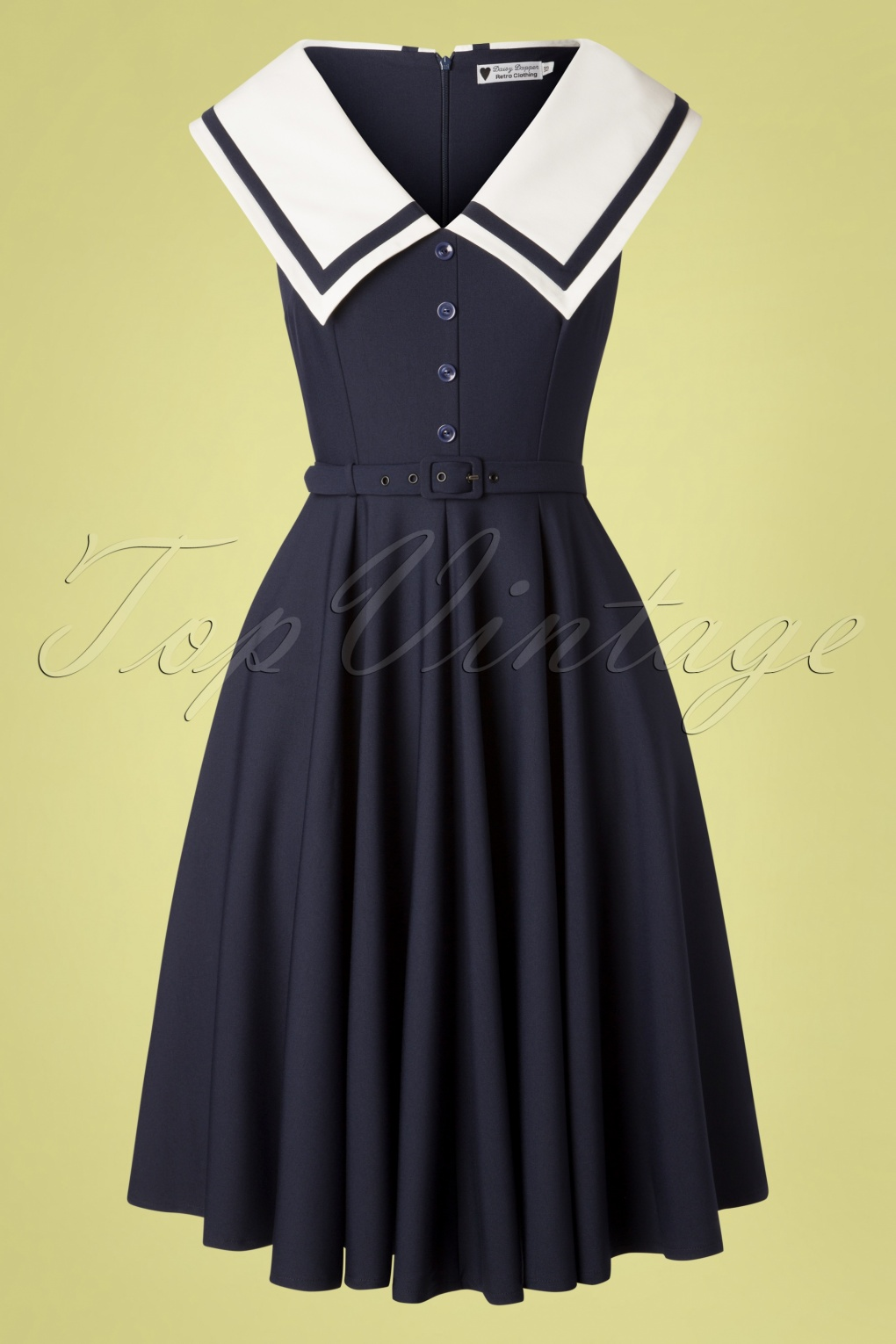 Vintage Cruise Outfits, Vacation Clothing 50s June Swing Dress in Navy �127.35 AT vintagedancer.com