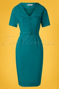Daisy Dapper 50s Ariel Pencil Dress in Teal Blue